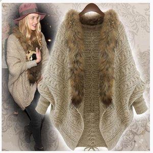Beautiful Faux Fur Khaki Open Sweater